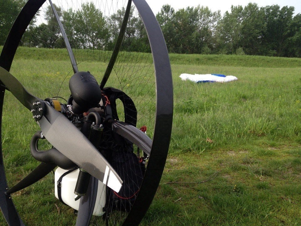 Scout Carbon Paramotor from the rear